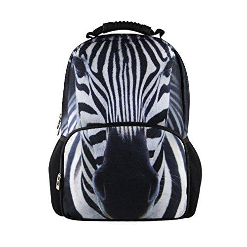 chaqlin 3D Herren Reise Rucksack Animal Druck Schule Laptop Rucksack Schwarz zebra L (Laptop Zebra-druck)