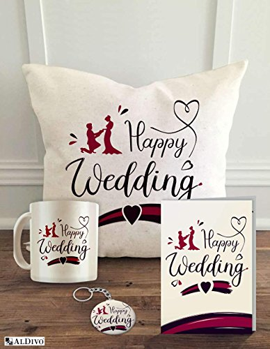 ALDIVO Combo Marriage Gift Pack with Printed Key Ring/Coffee Mug/Cushion Cover with Filler/Greeting Card for Brother/Sister/Friends, 12-inch- Set of 4