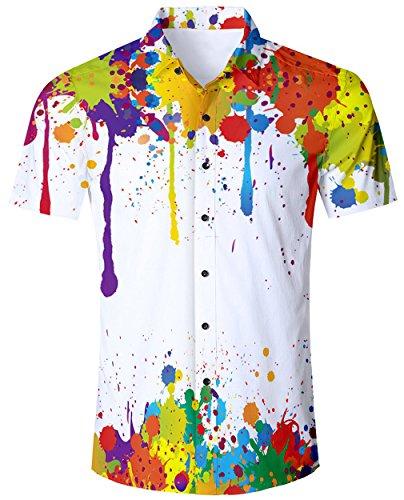 Goodstoworld Herrenhemd Kurzarm Comfort Fit Outdoor Hemd Herren Modern Hawaiihemd Männer Retro Rockabilly Shirt