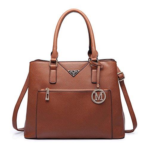 Miss Lulu, Borsa tote donna 6611 Brown