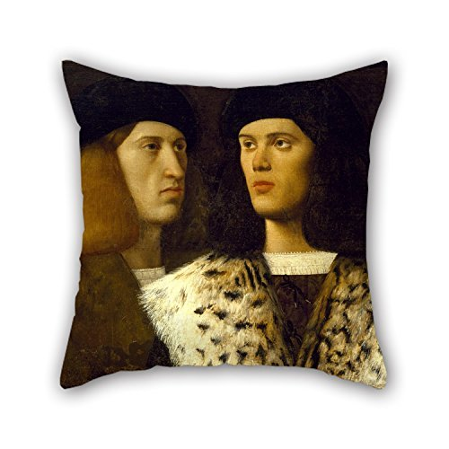 beautifulseason Oil Painting Attributed to Vittore Belliniano - Portrait of Two Young Men Pillow Cases 20 X 20 Inches/50 by 50 cm Best Choice for Bar Seat Dining Room Car Seat Car Shop Saloon Wit -