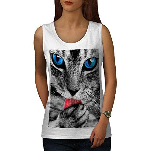 Niedlich pelzig Kätzchen Pfote Katze Wild Tier Damen S-2XL Muskelshirt | Wellcoda Weiß