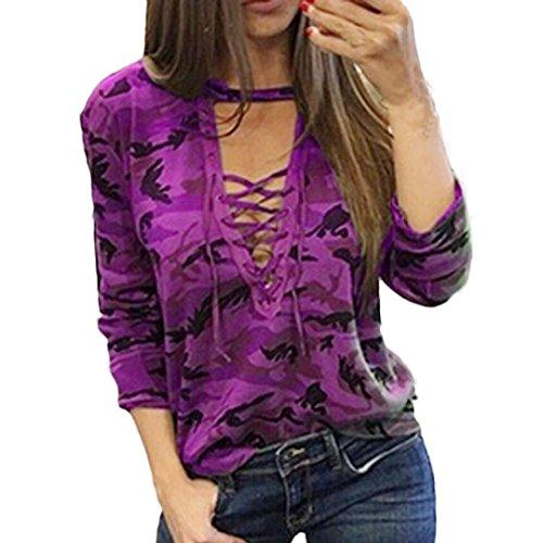 Hoodie Gift (Damen Bluse Xinan Langarm Shirt Schlanken Lässige Print Top (L,)