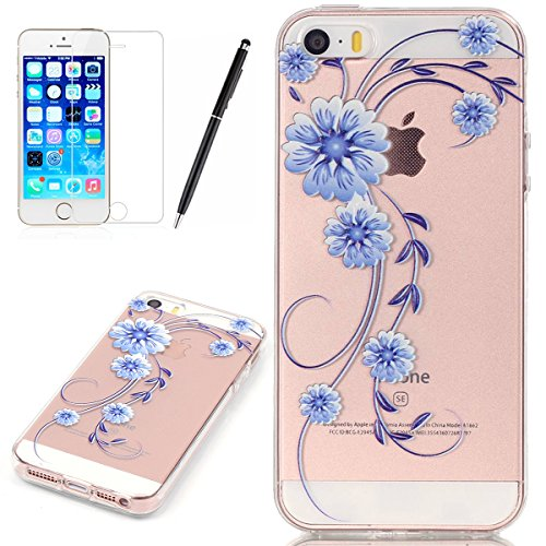 HB-Int Transparente Housse TPU Etui pour iPhone SE / 5 / 5S Belle Motif Coque Fashion Design Case Gel Silicone Souple Couverture Légère Slim Flexible Coque Protecteur Fonction Anti Choc Anti Rayure ?t Fleur A