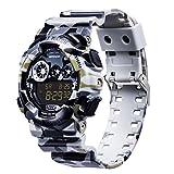 Reloj de Pulsera Sanda Digital Electronico Impermeable Militar Deportes Camuflaje Reloj Multicolor (Gris)