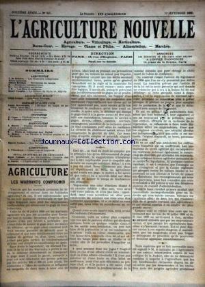 AGRICULTURE NOUVELLE (L') [No 595] du 13/09/1902 - AGRICULTURE PAR DE BEAUCE - BERTHOT - COUPIN - HORTICULTURE PAR MOTTET ET HENRY - VITICULTURE PAR CANU - ELEVAGE DU LAPIN EN GARENNE PAR BRECHEMIN - LES PERVERSIONS DU GOUT PAR VACHER par Collectif