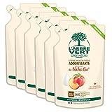 L'arbre vert Bien-être Recharge Crème Lavant Mains Pêche Bio aux Bienfaits d'Aloé Vera Bio/Extraits de Pêche Bio - Pack de 6