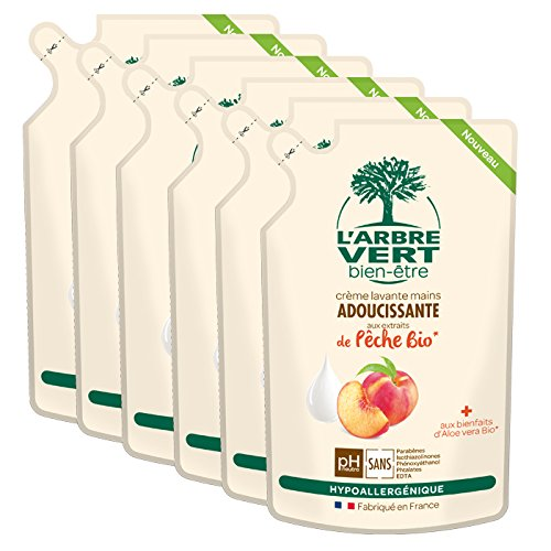 larbre-pack-de-6-vert-bien-etre-recharge-creme-lavant-mains-peche-bio-aux-bienfaits-daloe-vera-bio-e