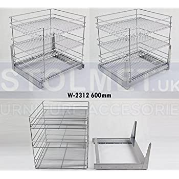Pull Out Kitchen Storage Full Extension W-2311 All Sizes Self Soft Close Chrome, 300mm