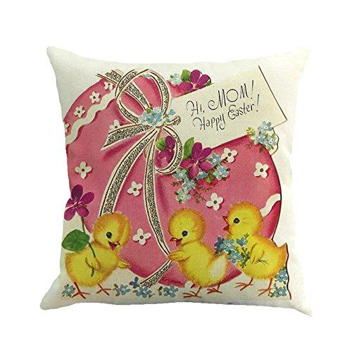 """Ostern Kissenbezug 45 × 45\""""Platz, JMETRIC Kaninchen Ei Druck Kissenbezug Leinen Baumwolle Kissenbezug Kopfkissenbezug(Mehrfarbig)"""