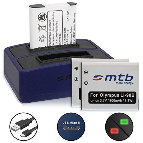 3 Akkus + Dual-Ladegerät (USB) für Olympus LI-92B, Li-90B / Olympus Tough TG-2, TG-3, TG-4, TG-5, TG 6 / Actioncam TG Tracker/SH-... s. Liste - (inkl. Micro-USB-Kabel)