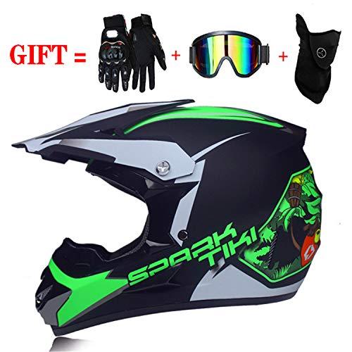 Casque de Moto-Cross avec Lunettes de Protection Gants Masque, Moto DH Enduro VTT Descente Dirt Bikes Quad Casque de Moto Cross pour Les Enfants et Les Adultes (Vert, S(52~55cm))