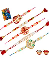 Sinjara Stone Peacock Rakhi Combo Of 5 Set For Brother With Greeting Card Roli Chawal