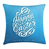 tgyew Easter Throw Pillow Cushion Cover, Blooming Sketch Flowers with Swirls Hand Lettering Easter Celebration Pattern, Decorative Square Accent Pillow Case, 18 X 18 inches, Azure Blue White