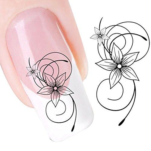 GNYD Damen Nagelkunst DIY schwarze Blumen-Wassertransferdia-Abziehbild-Aufkleber-Nagel-Kunst-Spitzen zur Dekoration
