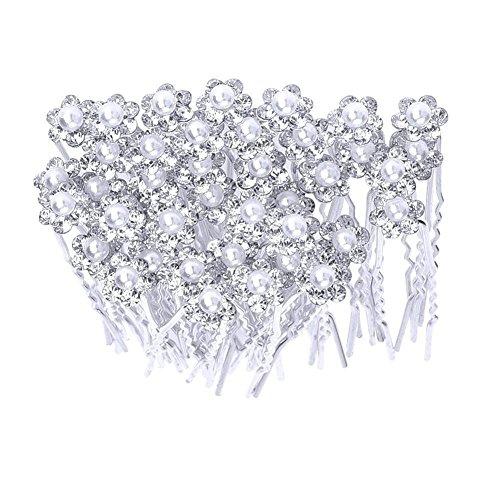 Westeng 20PCS U Form Haarnadel Perle Blume Strass Haar Pins Zubehör Hochzeit für Braut als Kopfschmuck - Braut-haar Pins