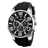 Skmei Herren Großes Gesicht Uhren YAHE Sports Wasserdicht Beiläufig Datum Kalender Analog Quarz Armbanduhr mit Gummiband (schwarz)