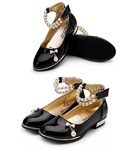 Scothen Filles ballerines chaussures de princesse étudiants chaussures chaussures cuir danse papillon enfants chaussures de princesse Party Pompes Bow Bow luisantes chaussures cheville ventes Noir