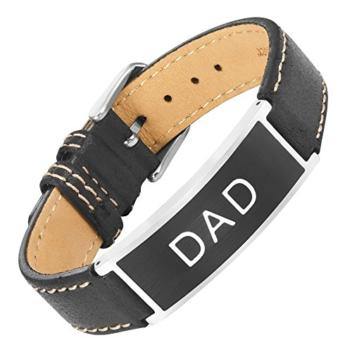 Willis judd dad in pelle e acciaio inossidabile braccialetto inciso best dad ever con sacchetto regalo