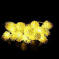 Xcellent Global Striscia Luminosa con 20 Luci LED Natalizie Bianche a Forma di Pigna Alimentate a Batteria per Esterni, Interni, Alberi di Natale, Casa, Feste I-LD079