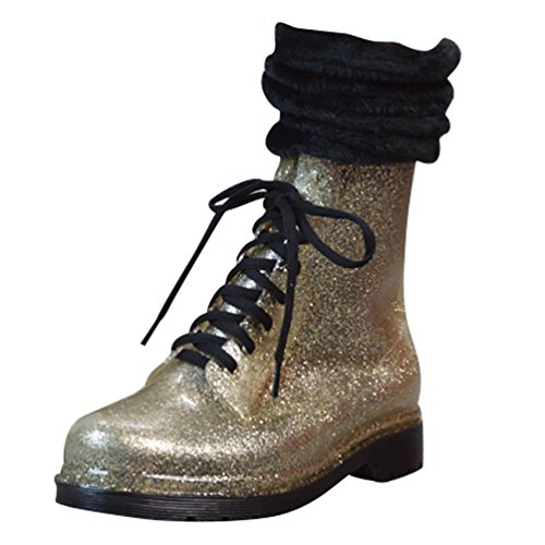 LvRao Womens High Heel Boots Snow Rain Waterproof Boots Warm Booties with Shoeslace