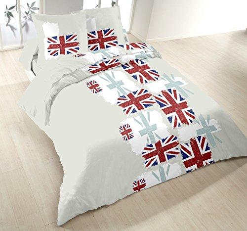 Home Passion 53487 Parure de couette London Coton Multicolore 220 x 240 cm