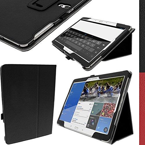 igadgitz Schwarz PU Ledertasche Hülle Folie für Samsung Galaxy Tab S 10.5