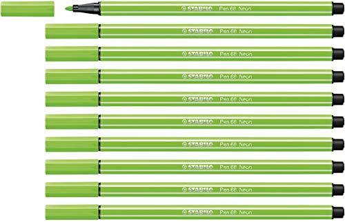 Pennarello Premium - STABILO Pen 68 - Confezione da 10 - Verde Fluorescente