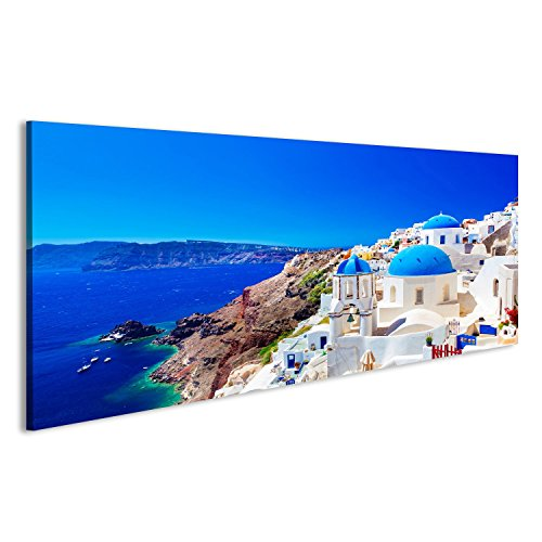 Tableau Tableaux sur Toile Ville Oia sur l'île de Santorin, en Grèce. Les Maisons Traditionnelles et célèbres u Images Impression Cadeau DRU