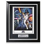 Cartel de Star Wars, firmado por Darth Vader, en marco negro de lujo con incrustaciones de plata