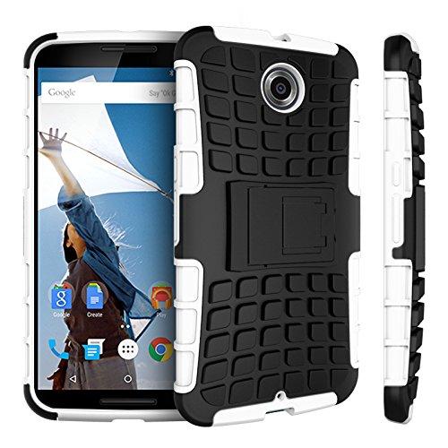 Motorola Nexus 6 Kasten, CaseFirst Reifenstreifen Hybrid Combo Shockproof Rüstung Robuste Dual Layer Case Cover mit Kickstand für Motorola Nexus 6 (Weiß)