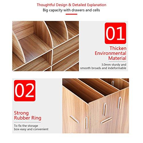 Schreibtischorganizer Holz, Lesfit Tisch Organizer Büro Fernbedienung Box Organisation Aufbewahrungsbox Schreibtisch Kinder (Braun) - 4