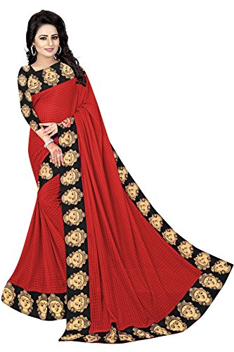 Vrati Fashion Women's Red Colour Laycra Saree With Unstiched Blouse Material
