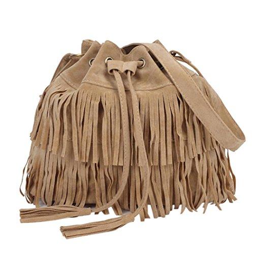Malloom® Moda Casual Donne Borse a secchiello di Nappa Con coulisse Borse a spalla in PU Pelle Kaki