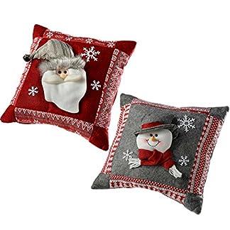 WeRChristmas–Cojín de decoración con diseño de Papá Noel y muñeco de Nieve, 35,5cm, Color Gris/Rojo, Juego de 2