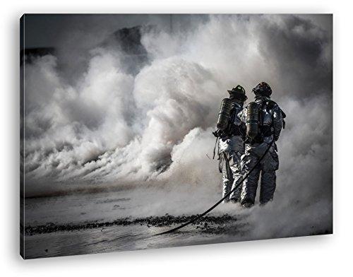 Helden des Feuers - Die Feuerwehr Format: 100x70 als Leinwand, Motiv fertig gerahmt auf...