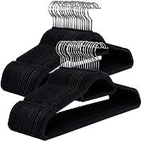 SONGMICS Cintres en Velours, Lot de 50, Crochet pivotant à 360°, Antidérapant, pour Costumes, Chemises, Robes, Cravates, Noir CRF50B