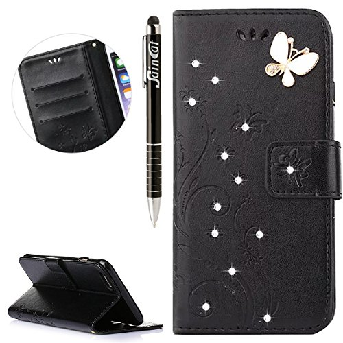 Custodia iPhone 5, iPhone 5S Flip Case Leather, SainCat Custodia in Pelle Flip Cover per iPhone 5/5S/SE, Custodia Bling Glitter Diamante Ultra Sottile Anti-Scratch Book Style Custodia Morbida Cover Pr Nero #2