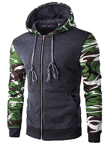 yffushi Felpa da uomo con cappuccio felpa con cappuccio produzione di mimetizzazione 3colori a scelta grigio S