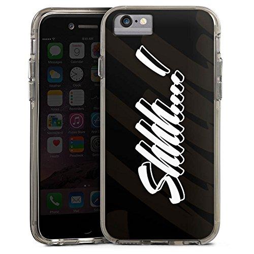 Apple iPhone 7 Plus Bumper Hülle Bumper Case Glitzer Hülle Shhh Statements Rhianna Bumper Case transparent grau