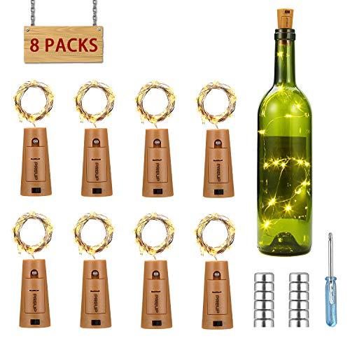 Flaschenlicht 8er 18 LED Korken mit Kupferdraht, PREUP LED Lichterkette 100cm Glaslicht mit 36 Batterien, romantische Beleuchtung/Geschenkidee/Deko für Weinflasche DIY Party Hochzeit (warmweiß) (Geschenkideen)