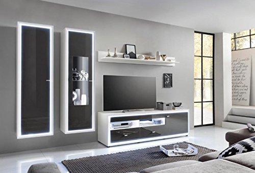 Wohnwand 'Move' Hochglanz lackiert Weiß Grau Vormontiert