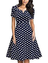 940bd35a0fc4 Miusol Damen Vintage 50er Kleid Polka Dots Ballkleid Rockabilly Cocktail  Abendkleid Blau Gr.S-XXL…