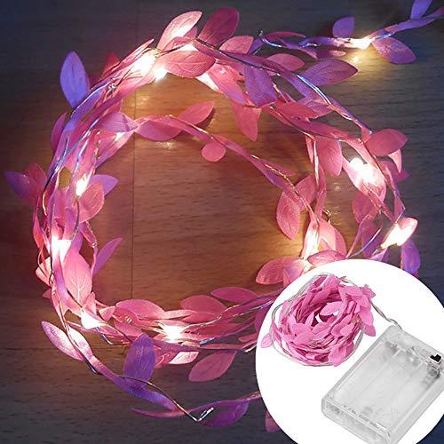 Lichterkette,FeiliandaJJ 2/3/5/10M Grünes Blatt Licht Zweig Licht Lichterkette LED Licht Hochzeit Party Weihnachten Halloween Innen/Außen Haus Deko String Lights (Rosa, 2M)