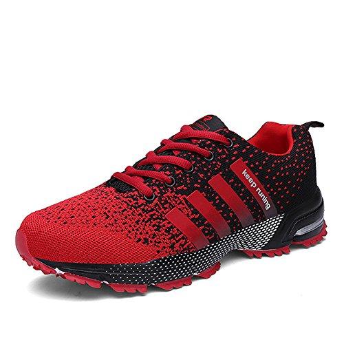 SOLLOMENSI Femme Homme Basket Chaussures de Course Compétition Outdoor Sport Trail Running Entraînement Multisports Sneakers Casual Fitness 37 EU A1 Rouge