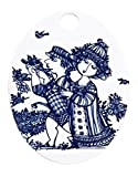 Bjørn Wiinblad BW Oval Platten, Rosegarden, blau, 15x19 cm