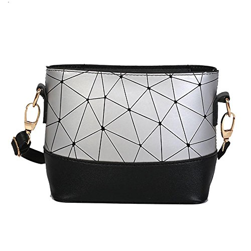 Fashion Frauen Line Leder Patchwork Shell Crossbody Schultertasche 19.5cm(L)*8.5cm(W)*15.5cm(H)/7.67(L)*3.34(W)*6.10(silber - Medium Woven Satchel