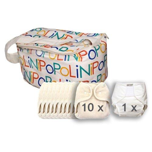 Popolini One Size Set organic 100% Baumwolle kba (GOTS) Komplettset Stoffwindeln 3-15kg inkl. Vliessrolle 100Blatt NEU & Original (Stoffwindel One Size)
