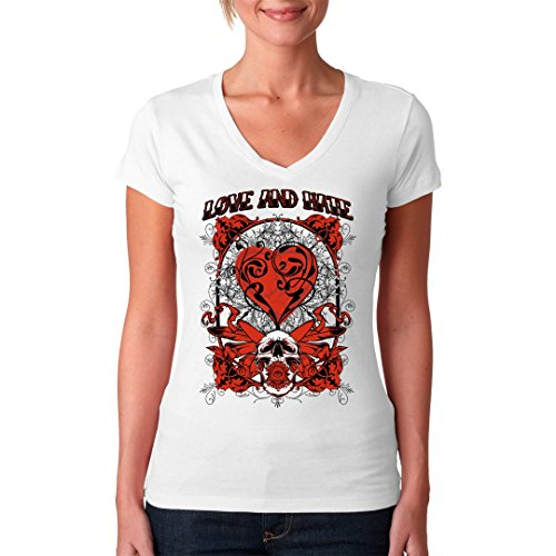 Gothic Fantasy Girlie V-Neck Shirt - Love And Hate by Im-Shirt Weiß
