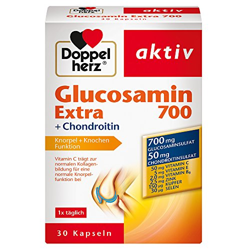 Doppelherz Glucosamin 700 Extra mit Chondroitin - Mit Vitamin C für die normale Funktion von Knorpel und Knochen - 1 x 30 Kapseln